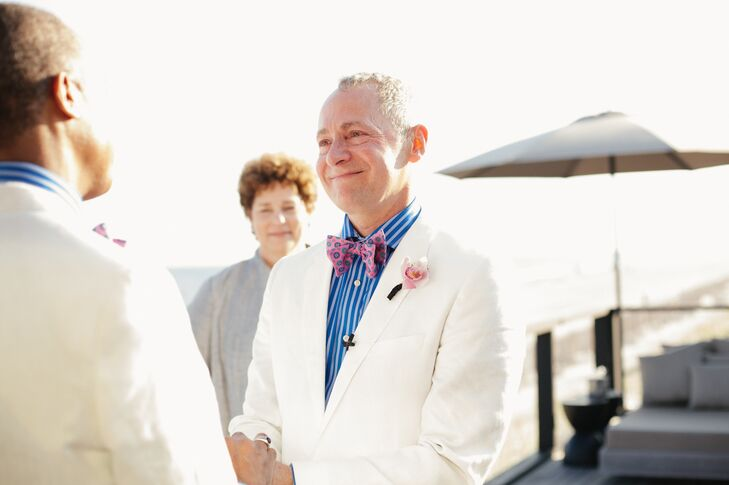 White Linen Suit with Blue Striped Shirt and Pink Bow Tie