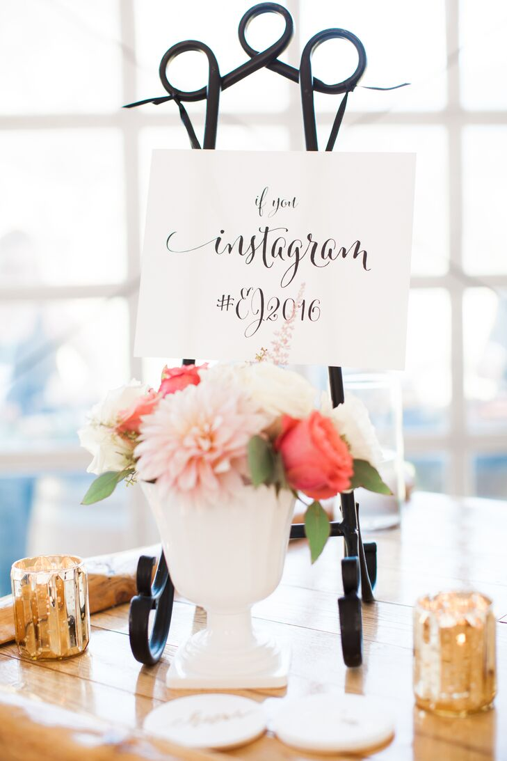 LH Calligraphy crafted all the event signs, including this tabletop design, which shared Eliza and Jacob's Instagram hashtag.