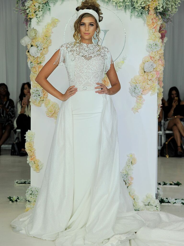 Julie Vino Fall 2018 fringed wedding dress with embroidered bodice