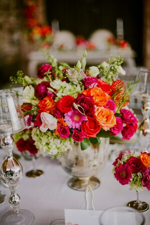 Vibrant Coral, Red and Burgundy Rose Centerpieces