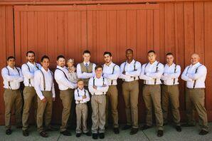 Casually Dressed Groomsmen in Suspenders