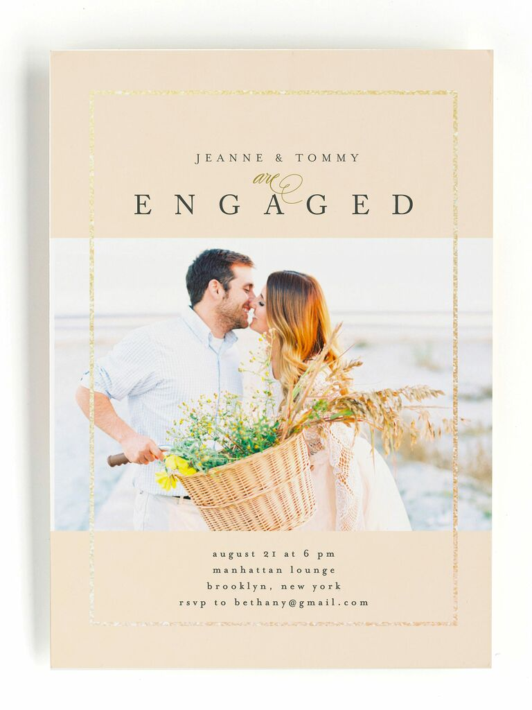 Photo engagement party invitation with foil