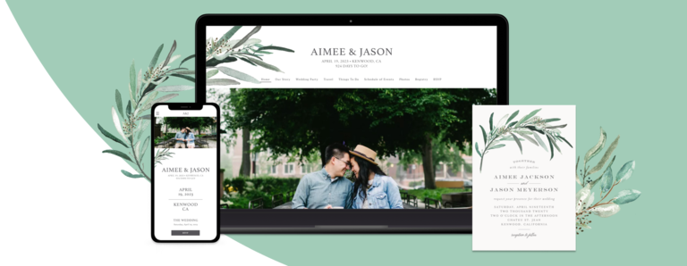 Lush Greenery design shown on various devices and a matching wedding invite card