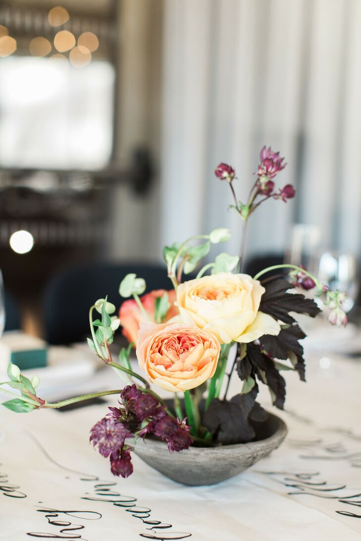 Ikebana-Style Centerpieces of Roses and Ninebark