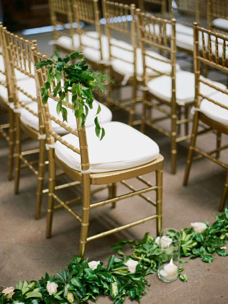 White Rose and Varied Greenery Aisle Garland