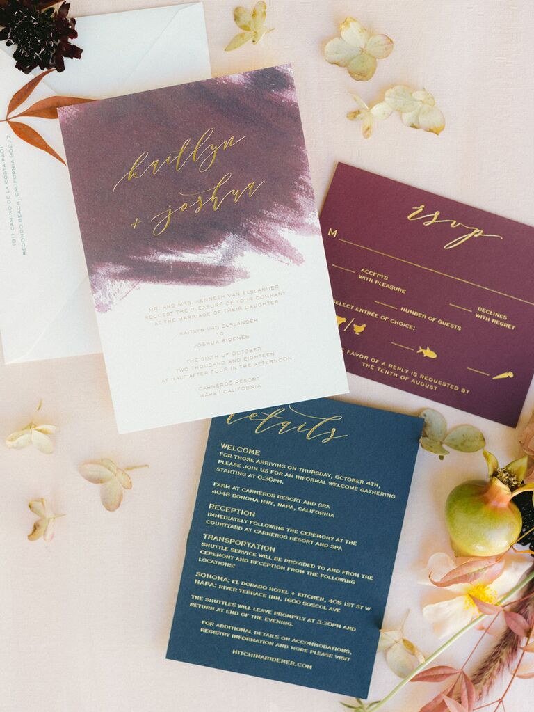 Indigo and violent chic wedding invitations with gold calligraphy