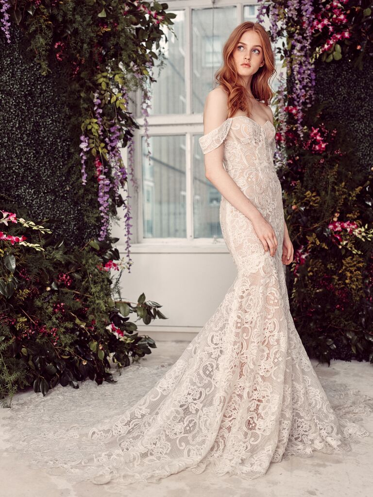 Alyne by Rita Vinieris Spring/Summer 2020 Bridal Collection ivory lace mermaid wedding dress with off-the-shoulder sleeves