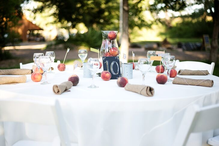 Matching the place cards, peaches were scattered on the dining tables for simple decor and a pop of color.