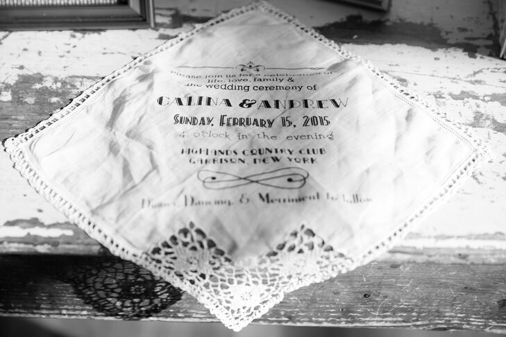 Many of the wedding's details were made by the couple themselves, including their wedding invitations. The invitations were made  from vintage handkerchiefs  that they personally screen-printed and tied together with a card they hand stamped and embossed.