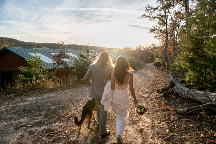 The couple incorporated their dog throughout their casual celebration.