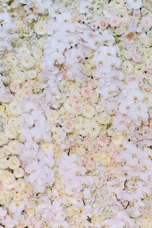 Ivory Flower Wall Ceremony Backdrop