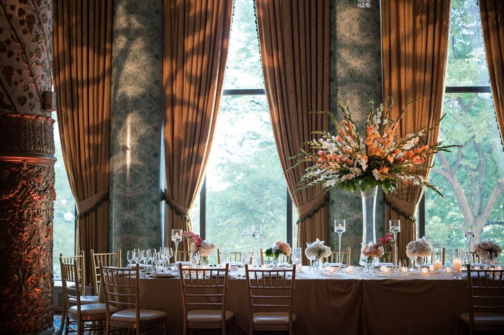 Tall Peach and White Gladiolus Centerpiece