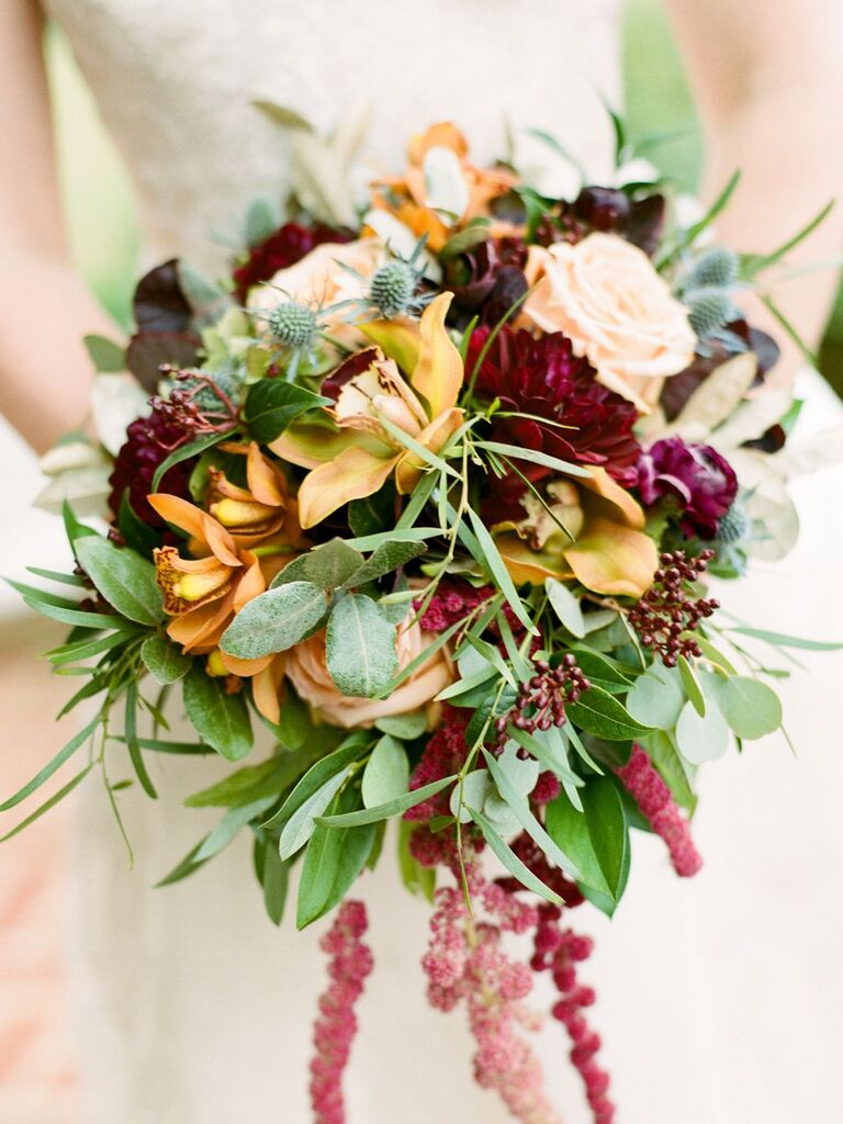 red and yellow fall wedding bouquet