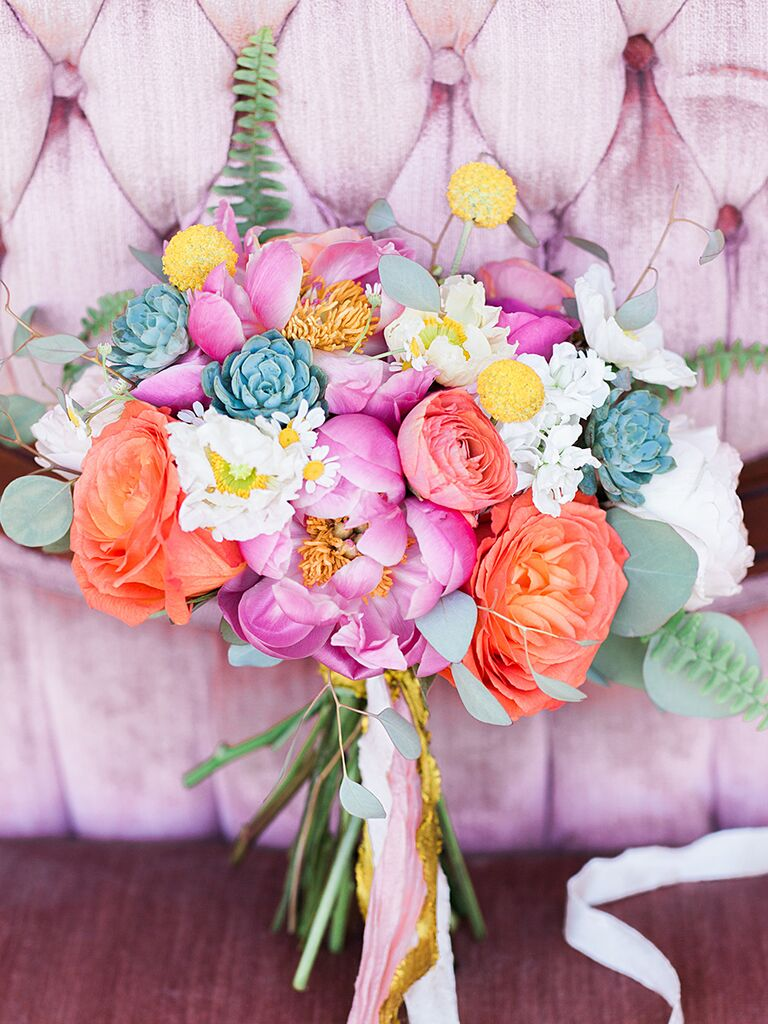 Peony bouquet ideas candy colored colorful peony and fern rustic bouquet idea izmirmasajfo