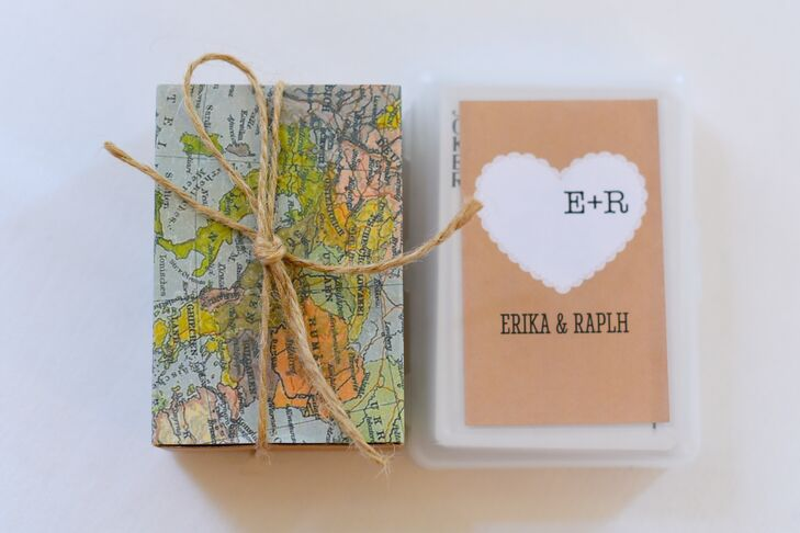 """As favors, Erika and Ralph gave their guests playing cards. The cards were personalized with heart motifs that read """"E+R."""""""