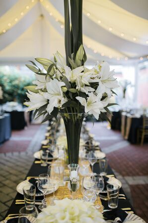 White Lily Centerpiece in Trumpet Vase