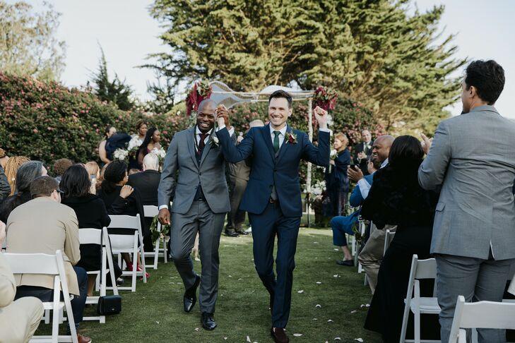 Same-Sex Couple Recessional at Prisidio Golf Course in San Francisco, California