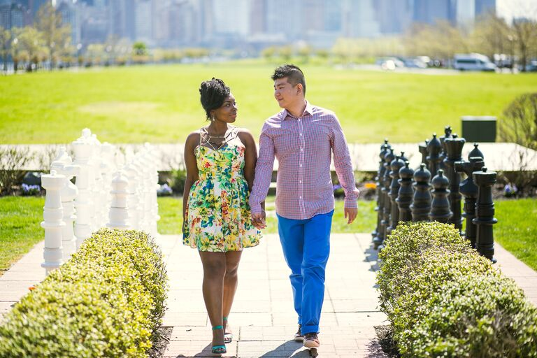 Timolin and Eric engagement photo Jersey City NJ