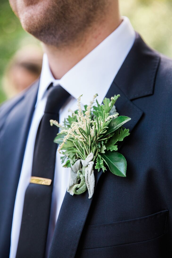 Astilbe and Dusty Miller Boutonniere