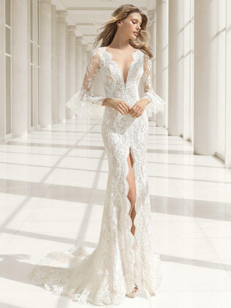Rosa Clará Fall 2018 wedding dresses sheer lace bell sleeves