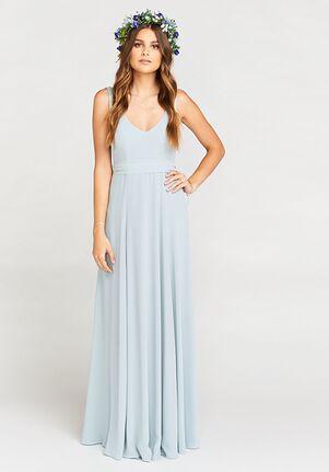 Show Me Your Mumu Jenn Maxi Dress - Steel Blue Chiffon V-Neck Bridesmaid Dress