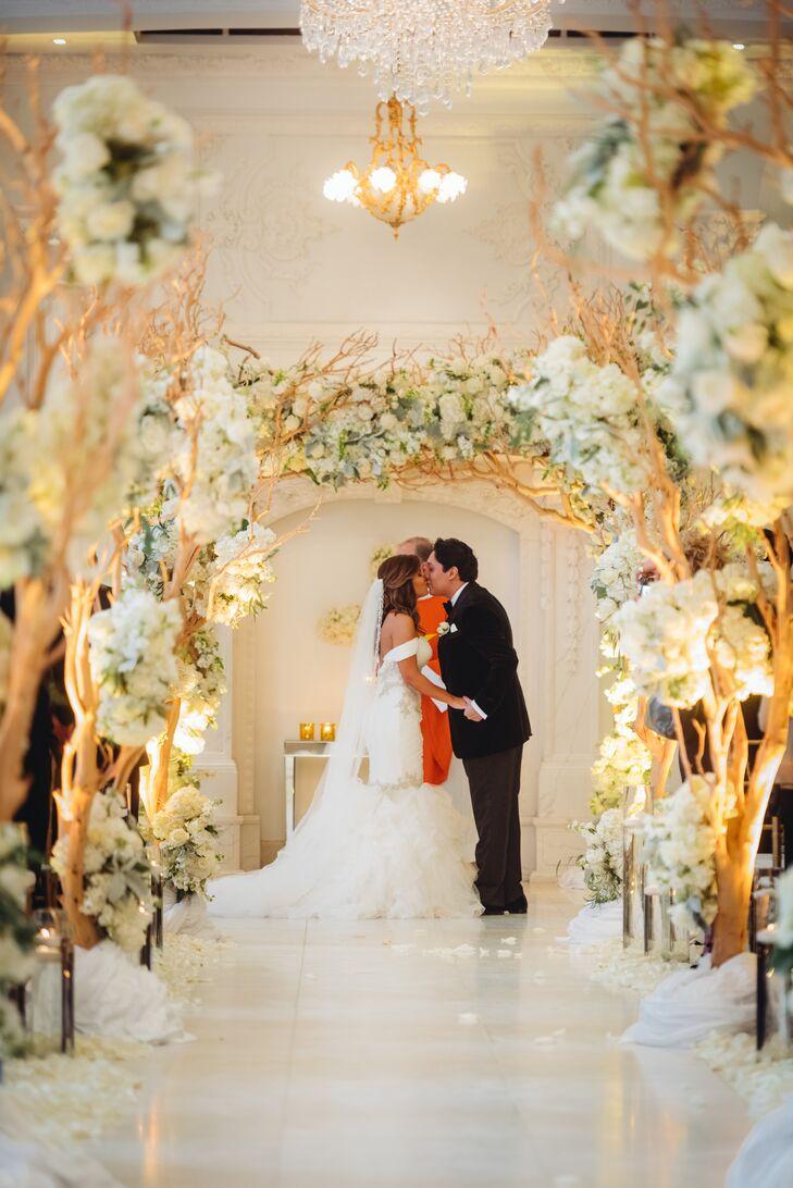 Romantic Ivory Hydrangea and Rose Manzanita Tree Arches
