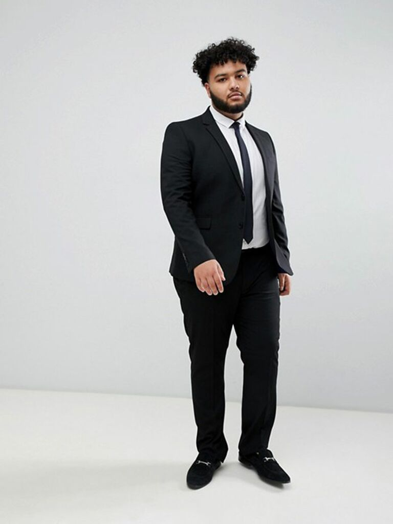 Black plus size wedding guest suit