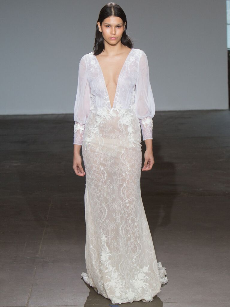 Adam Zohar Spring 2019 Collection sheer sheath wedding dress with plunging V-neck and puff sleeves