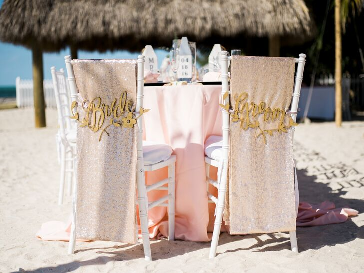 """The head of the table was saved for Nicole and Zachary, who separated their chairs from the rest with laser-cut """"bride"""" and """"groom"""" signs."""
