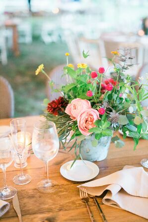 Fresh-Picked Flower Arrangements on Wood Farm Tables