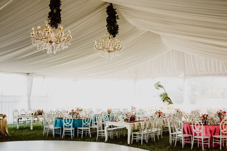 Draped Reception Tent with Glam Chandeliers
