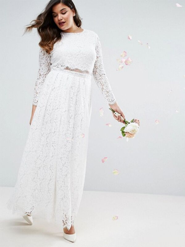 Two Piece Crop Top Plus Size Wedding Dress