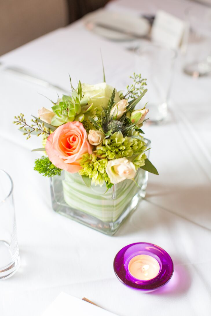 Small Peach Rose And Succulent Centerpiece