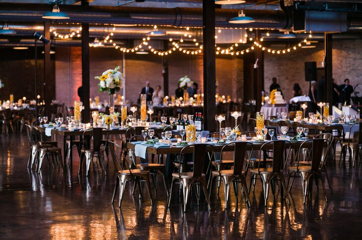 The decor fusion of industrial and elegant aesthetics was a true reflection of Alyse and Vadim's personalities and tastes, with details like pilot chairs and floating centerpieces speaking to Vadim's preference for urban and modern design and romantic candlelight, lush blooms and wooden farm tables playing up Alyse's love of Southern, rustic styles.