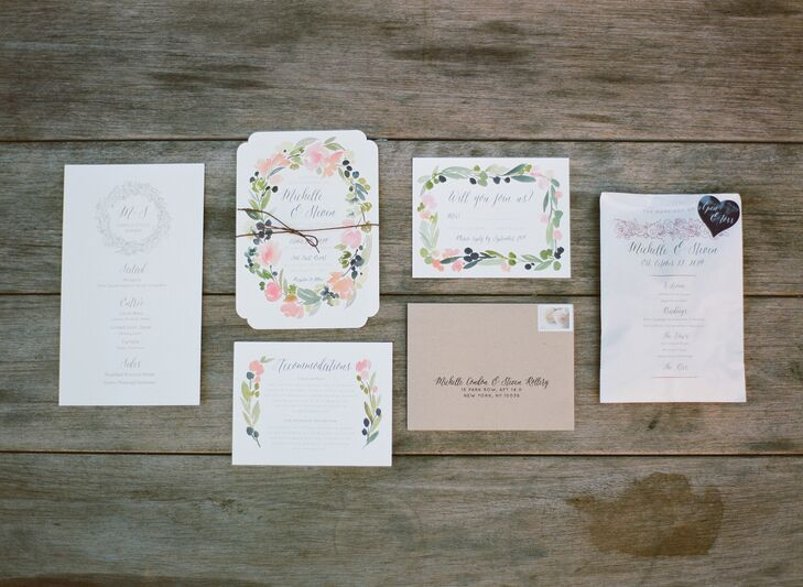 While Michelle's close friend took the reigns on the majority of the couple's wedding stationery, Michelle and Steve turned to Minted.com for their invitation suite. The pair chose a garden-inspired design with watercolor floral garlands, which fit the organic, wild vibe of Celadon & Celery's reception centerpieces.