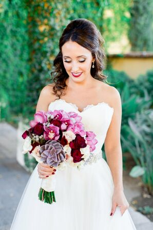 Bright, Colorful Bridal Bouquet With Succulents and Crimson Blossoms