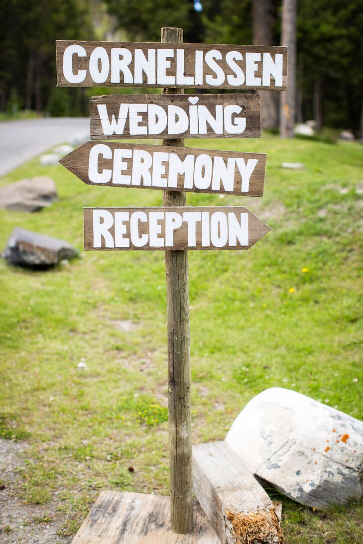 Painted wooden signs directed guests towards the ceremony and reception sites.