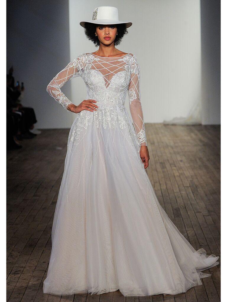 Hayley Paige wedding dresses long-sleeve illusion dress