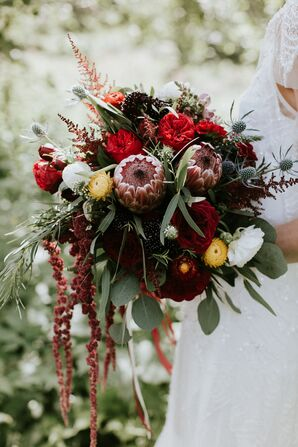 Rustic Burgundy Protea and Thistle Bouquet