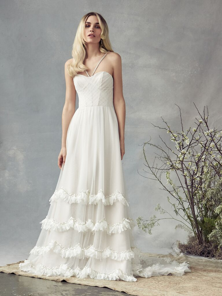 Savannah Miller Spring 2020 Bridal Collection halter bustier wedding dress with ruffled skirt