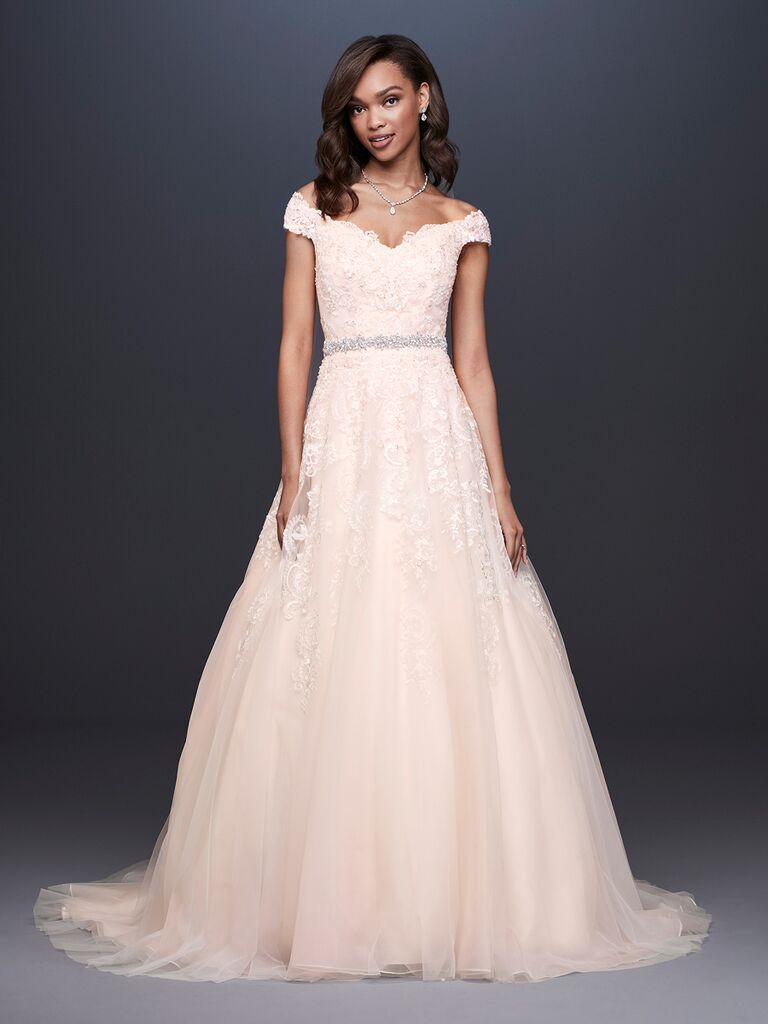 David's Bridal Spring 2019 lace embroidered wedding dress with a belt detail