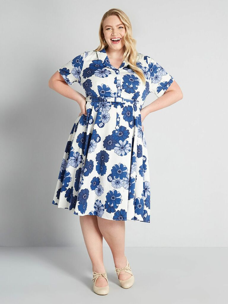 swing dress with blue floral print and belt