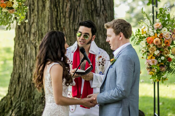 Elvis Impersonator Ceremony Officiant at Whimsical, Intimate Park Wedding