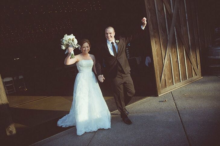 The bride wore a strapless A-line gown with beaded embellishments.