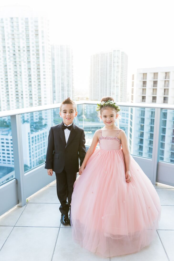 Glam Pink Tulle Flower Girl Dress
