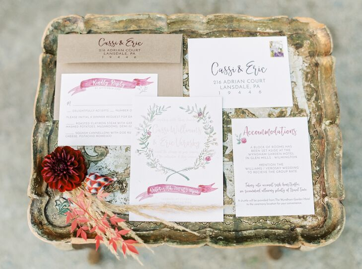 Whimsical Invitation Suite with Garland Illustration
