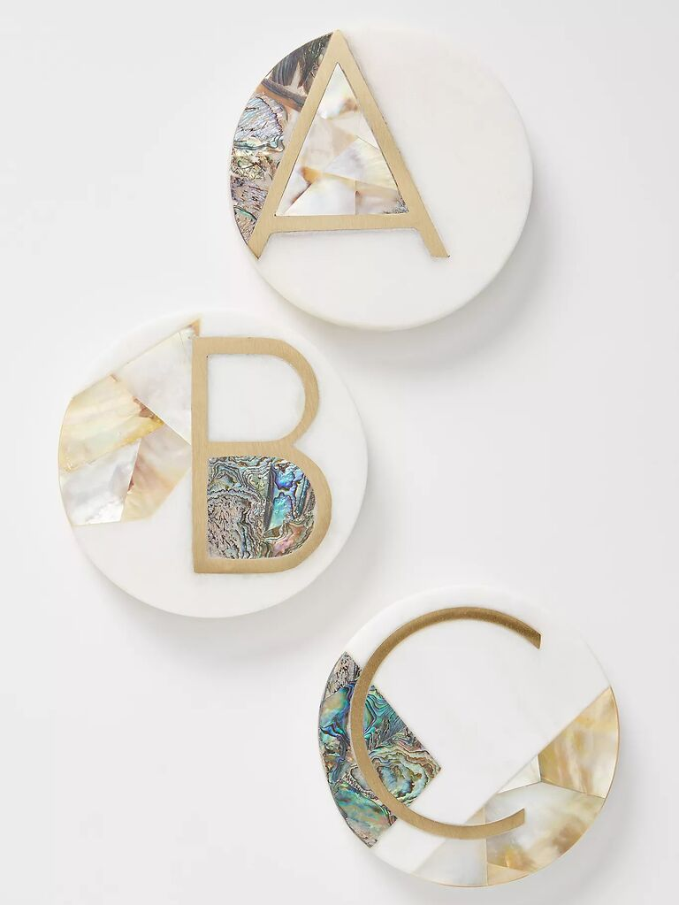 Monogram coaster bridal party gift