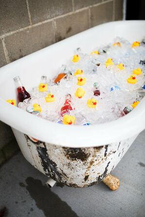 Cold Beers in Rustic Bathtub with Rubber Ducks