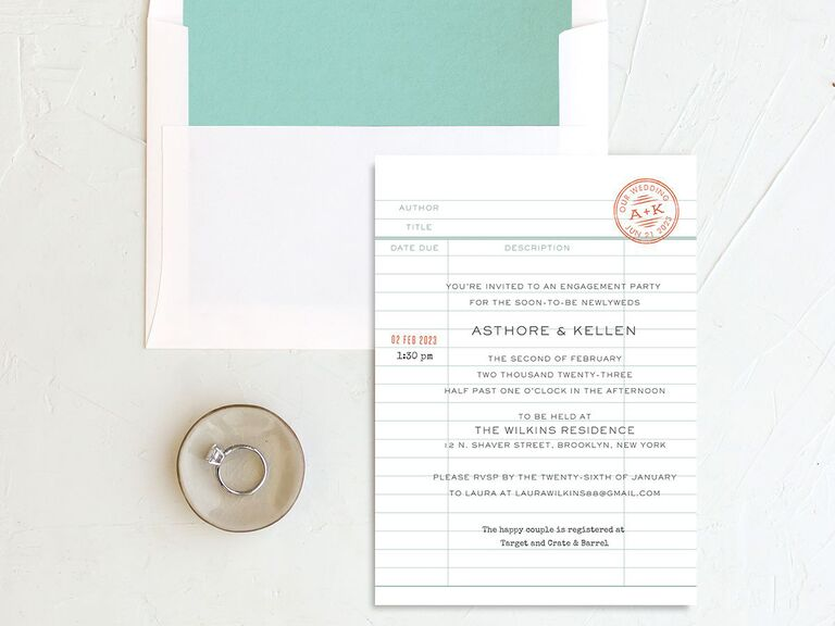 Vintage library card engagement party invitation