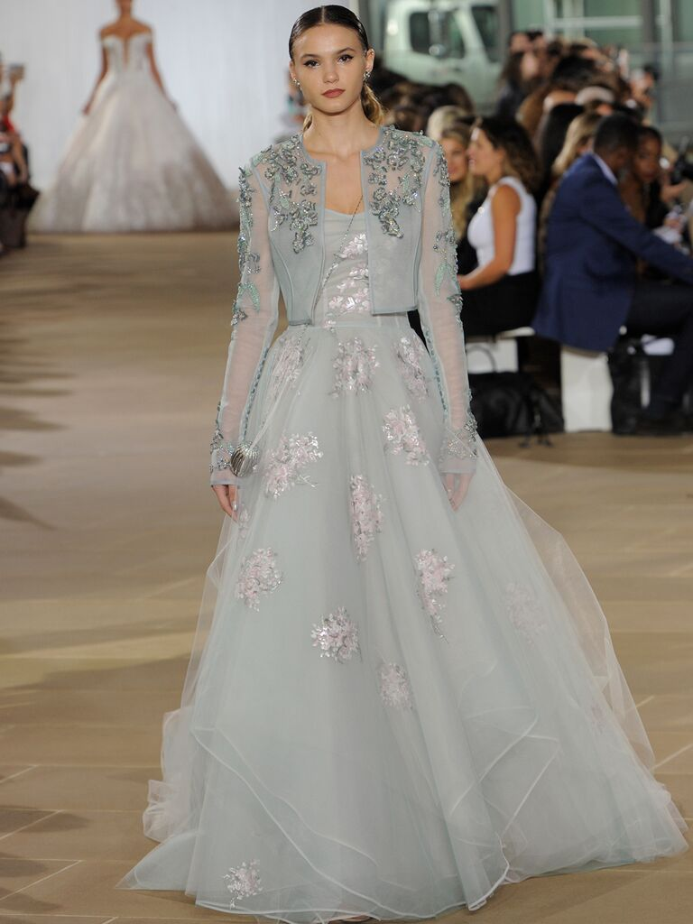 Ines Di Santo Fall 2019 dove-gray wedding dress with floral embroidery and a matching cropped jacket